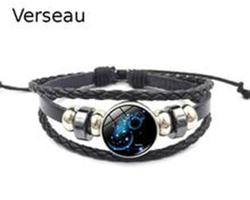Bracelet cuir constellation zodiaque du Verseau